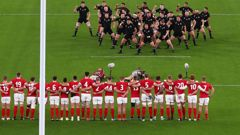 The All Blacks perform the haka ahead of a clash against Wales at the 2019 World Cup. (Photo / Getty)