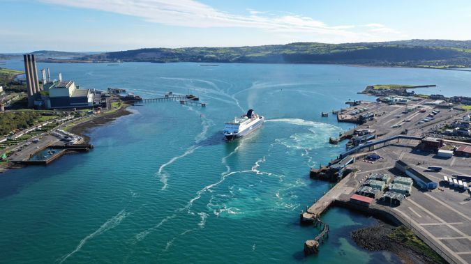 There are three existing ferry services between Ireland and Britain, including the one between Larne (pictured) and Stranraer in Scotland. Photo / Getty