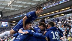 Chelsea players celebrate the winning goal in the Champions League final. (Photo / AP)