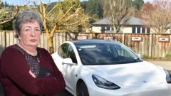Mosgiel resident Jenny Kerr has had trouble getting repairs for her Tesla Model 3. (Photo / Gregor Richardson)