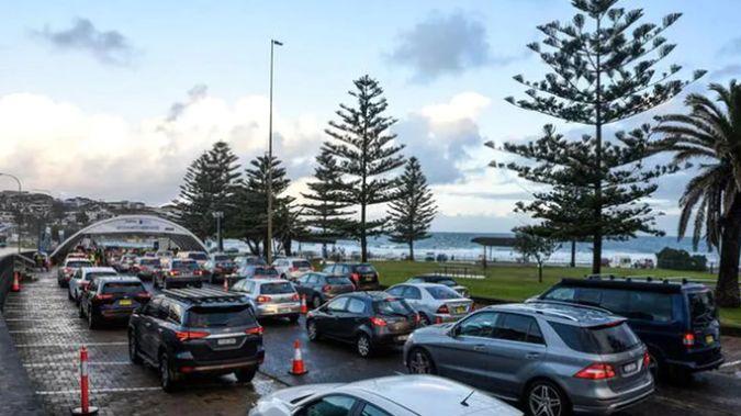 Queues at a Bondi Covid testing site yesterday. (Photo / News Corp Australia)