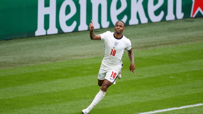 England's Raheem Sterling celebrates scoring the opening goal against Germany in their round of 16 clash at Euro 2020. (Photo / AP)