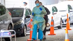 Nurses geared up at a Covid testing station in Wellington. Photo / Mark Mitchell