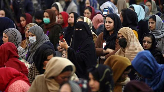 Afghan women attend an event to mark International Women's Day in Kabul, Afghanistan. Kabul's young working women say they fear their dreams may be short-lived. (Photo / AP)