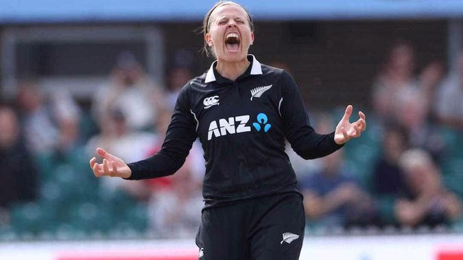 Lea Tahuhu celebrates the first wicket in the third ODI between England and New Zealand at the County Ground Grace Road, Leicester. (Photo / Photosport)