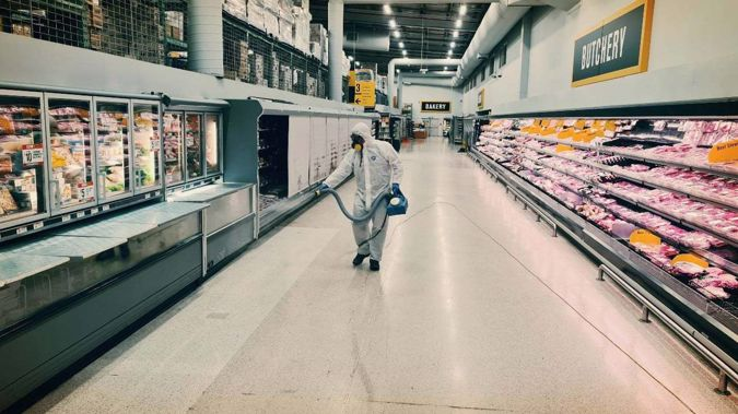 Pak'nSave Mt Albert undergoes a deep clean on Tuesday night after being named as a location of interest. (Photo / Facebook)