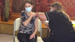 Jacinda Ardern receiving her first dose of the Covid vaccine. Photo / NZ Herald