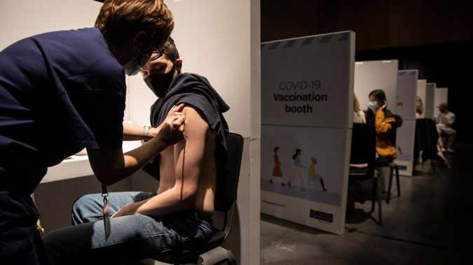 Mass Covid-19 Vaccination Clinic was set up at Canterbury University with hundreds turning up to get vaccinated. (Photo / George Heard)