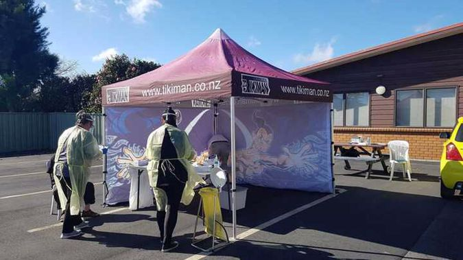 Staff set up at Katikati Medical Centre for a busy day of testing locals. (Photo / Carmen Hall)