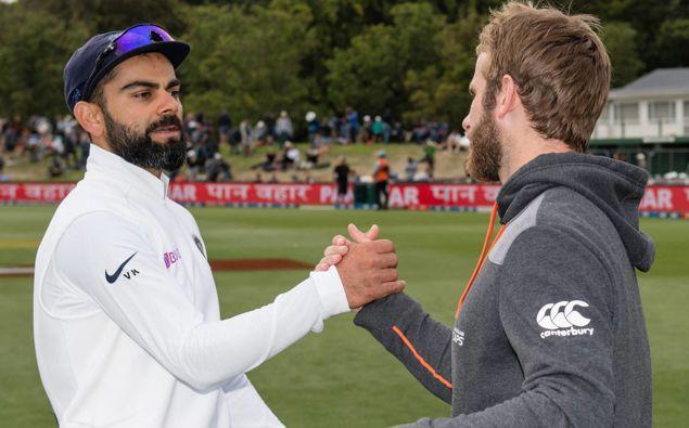 India captain Virat Kohli and New Zealand captain Kane Williamson shake hands. (Photo / Photosport)