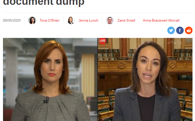 A screenshot from Newshub's website showing the document dump video dated May last year