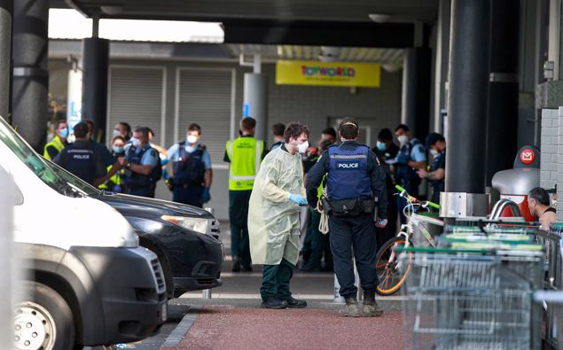 Emergency Services At The Scene Of Friday's Terrorist Attack In West Auckland. Photo / Alex Burton