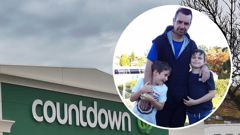 The Countdown in Dunedin were the stabbing occurred and inset, Countdown senior manager Dallas Wilson with his two sons. Photos / Peter McIntosh, Supplied