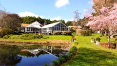 Karaka Point Vineyard and Lodge is set over 8ha of landscaped gardens and features three lakes. (Photo / Supplied)