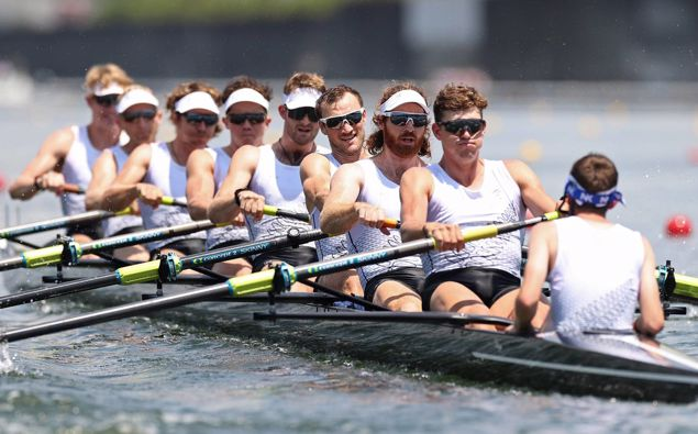 The New Zealand men's eight in the rowing final. (Photo / Getty)