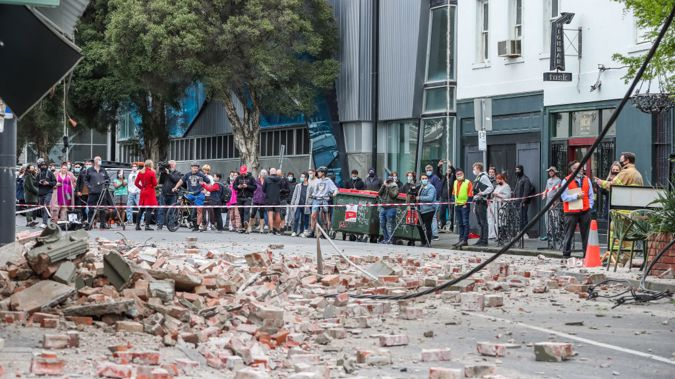 Damaged buildings (Betty's Burgers) following an earthquake are seen along Chapel Street (Photo/Getty)