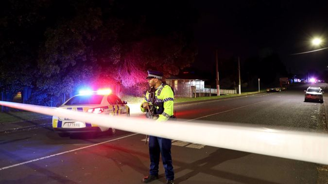 Police have cordoned off Beatty St in Otahuhu. Photo / Hayden Woodward