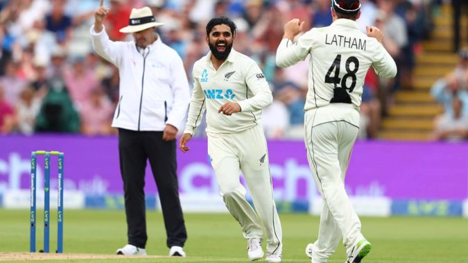 Ajaz Patel took wickets on day one for New Zealand. (Photo / Getty)