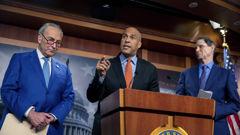 Senate Majority Leader Chuck Schumer, D-N.Y., Sen. Cory Booker, D-N.J., and Sen. Ron Wyden, D-Ore., announce a draft bill that would decriminalize marijuana on a federal level Capitol Hill in Washington. (Photo / AP)