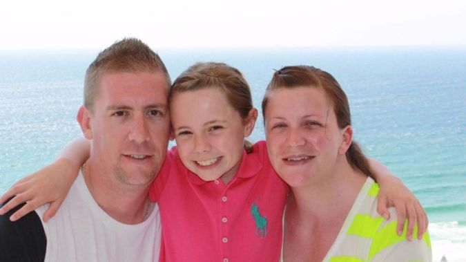 Dave Turner with his wife Kate Goodchild, who died in the Dreamworld tragedy, and their daughter Ebony, who miraculously survived. Photo / Supplied