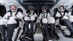 Chris Sembroski, Sian Proctor, Jared Isaacman and Hayley Arceneaux sit in the Dragon capsule at Cape Canaveral in Florida. (Photo / AP)