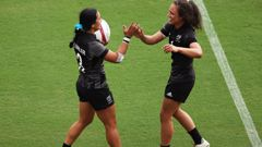 Stacey Fluhler celebrates with Ruby Tui. Photo / Getty
