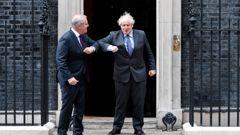 Britain's Prime Minister Boris Johnson and Australia's Prime Minister Scott Morrison at 10 Downing Street. (Photo / AP)