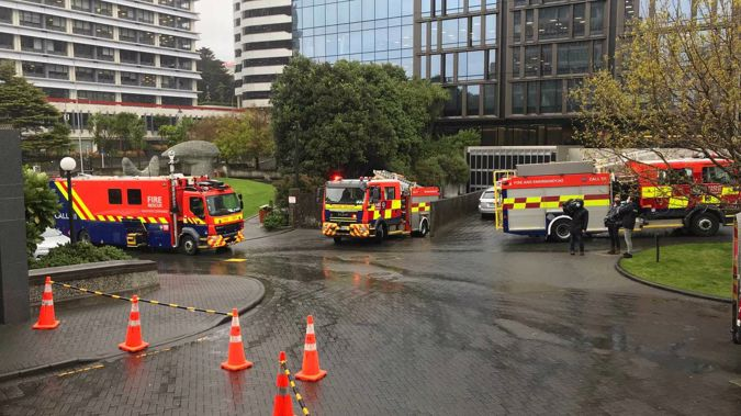 Fire crews are assessing a suspicious package at Parliament. (Photo / Michael Neilson)