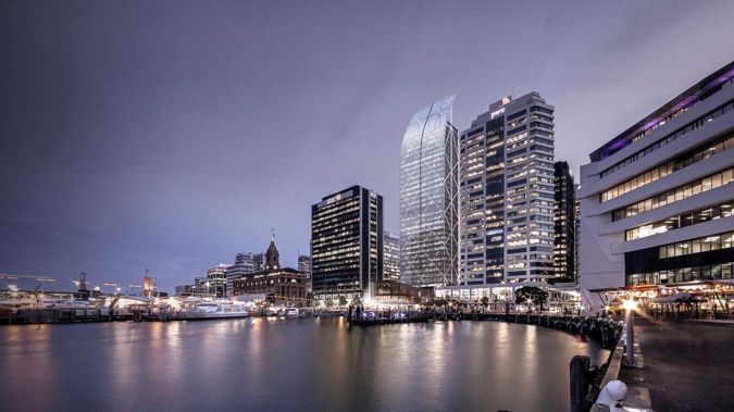 The Auckland waterfront could get a new skyscraper to rival Commercial Bay's PWC Tower (centre). (Photo / Supplied)