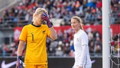 Goalkeeper Erin Nayler reacts after Canada scored their fifth goal of the game. (Photo / Getty)