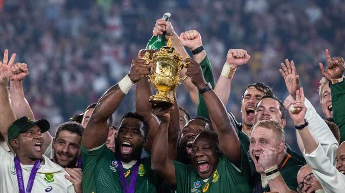 The Springboks celebrating with the Webb Ellis Cup after their victory over England in the Rugby World Cup 2019 final. (Photo / Mark Mitchell)