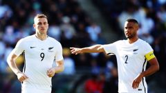 Chris Wood (left) and Winston Reid during the All Whites last home game, against Peru in 2017. Photo / Getty Images