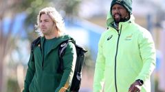 Faf de Klerk (left) and Springboks assistant coach Mzwandile Stick during training for the Rugby Championship. Photo / Getty Images