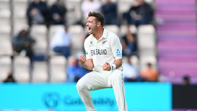 Tim Southee took two wickets to keep the Black Caps in the hunt. (Photo / Getty)