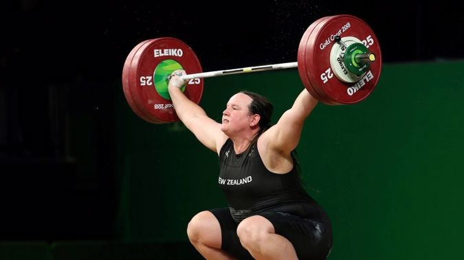 Laurel Hubbard lifts in the snatch of the women's +90kg weightlifting final at the 2018 Commonwealth Games. Photo / AP