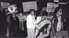 The Polynesian Panthers at a protest rally in the 1970s. (Photo / John Miller)