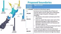 The proposed boundaries for the four new water services agencies. Photo / Supplied, DIA