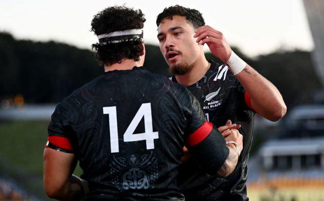 Jonah Lowe of the Māori All Blacks celebrates with Billy Proctor. (Photo / Getty)