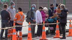 People waiting in line to be tested for Covid-19 at Hataitai Park in Wellington. (Photo / Mark Mitchell)