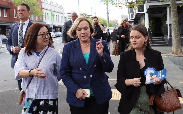 National Party leader Judith Collins campaigns as she meets with people during a walk along Ponsonby Road on October 07, 2020 in Auckland (Photo / Getty)