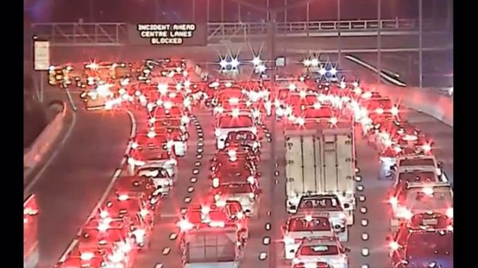 A 12-car crash is blocking the Northwestern Motorway with motorists warned to expect delays. (Photo / NZTA)