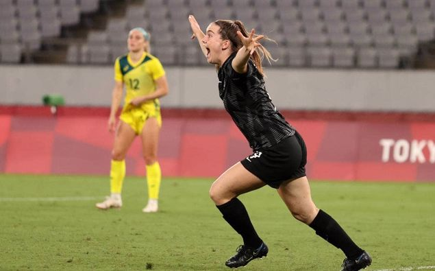 Gabi Rennie celebrates after scoring a late consolation goal in their opening game against Australia. Photo / Getty Images