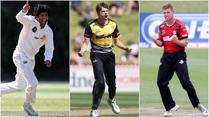 Rachin Ravindra, Ben Sears and Cole McConchie. (Photos / Photosport)