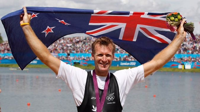 New Zealand's Mahe Drysdale after taking gold in the Olympic Games men's single scull rowing at the 2012 Olympics. Photo / Mark Mitchell