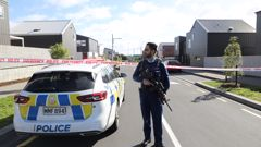 Police cordon on Whimbrel Rd Flat Bush after a man was found with shotgun wounds. (Photo / Hayden Woodward)