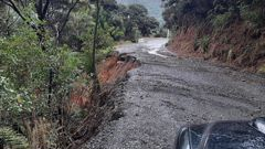 A slip on the road to Whatipu. (Photo / Auckland Council)