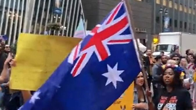 The march ended outside the Australian consulate in Midtown, where speeches were held in support of Australia. (Photo / Twitter)